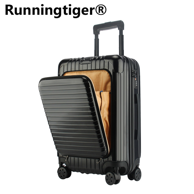 Business suitcase male 20 24 26 inch boarding trolley case female front opening zipper universal wheel suitcase TSA lock luggage foot operated 5 way 2 position direct acting pneumatic pedal valve