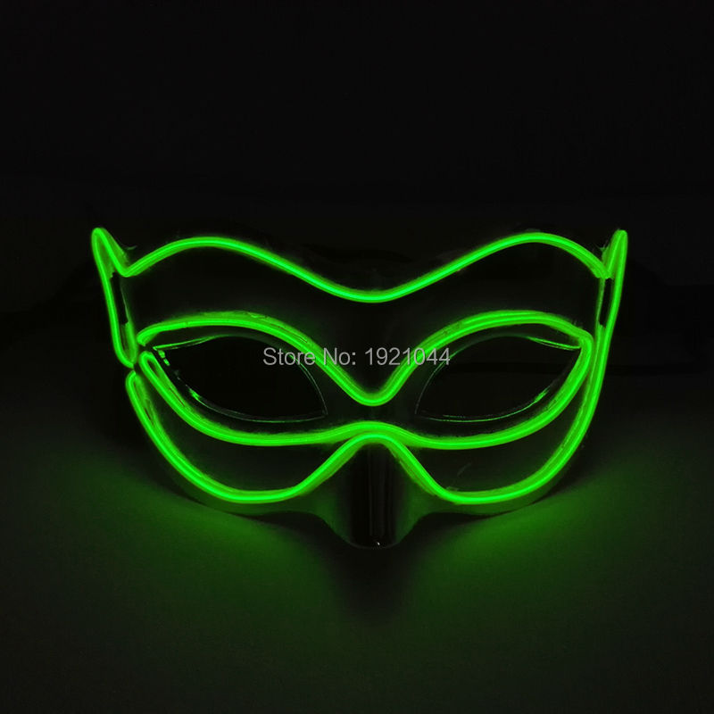 NEW Halloween Party Festival Cosplay Decorative Electroluminescent Wire 10 Color Select Lemon Green EL Fox Mask Party Mask