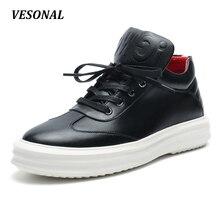 VESONAL 2017 High Top Quality PU Men Shoes Fashion Personality Letter Platform Mens Shoes Casual Designer Black Blue SD6115