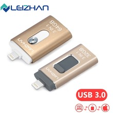 LEIZHAN lightning USB Flash Drive Micro USB 3.0 Photostick For iPhone Metal USB Drive