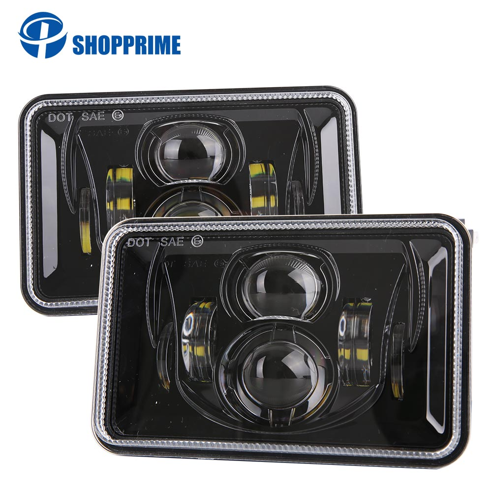 Rectangle 4x6 Inch LED Headlights H4 Plug H4651 H4652 H4656 H4666 H6545 Projector for Peterbil Kenworth Freightinger Headlamp