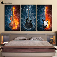 HD Printed 3 Panels Canvas Art Black Burning Guitar Music Canvas Painting Room Decor Canvas Wall