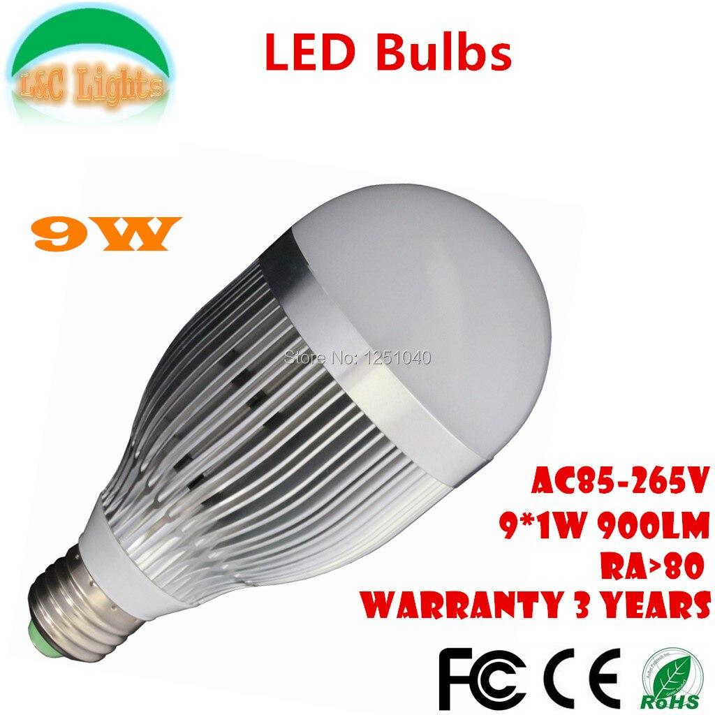 Free Shipping E27 9W LED Bulbs 110V 220V LED Lamps CE RoHS Home Lighting High Power LED Light Bulbs Ultra Bright LED Lighting