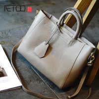 AETOO Simple practical head layer soft cowhide female bag, commuter leather women's bag, women's handheld shoulder bag