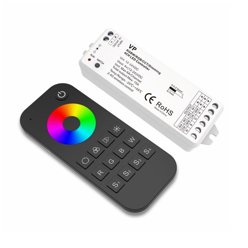 SKYDANCE New Led RGBW Strip Controller 12V 2.4G RF Remote Wireless 6A*4CH 15A Max DC12V-24V Led Strip RGBW RGB Controller