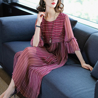 Spring summer new vestidos verano 2018 summer dress women loose large size seven points sleeve printed silk chiffon dress