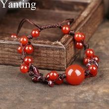 Yanting Роскошный натуральный красный камень гранатовые браслеты для женщин классический браслет ювелирные изделия Женский Регулируемый размер подарок девушке 098