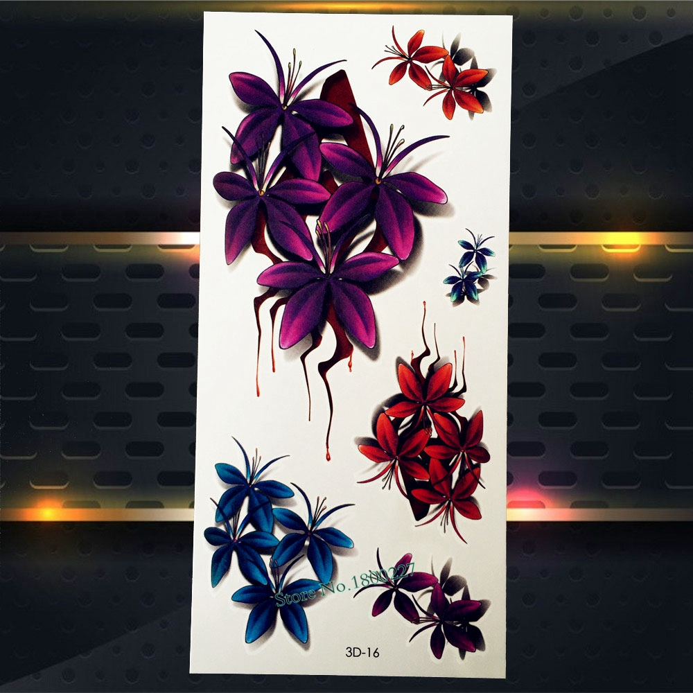 1PC Charm 3D Flowers Plum Blossom Flash Temporary Removable Tattoo Sexy Women Makeup Body Art P3D-16 Fake Waterproof Tattoos