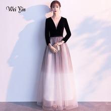 weiyin Black Tulle Long Evening Dresses 2019 V Neck Formal Wedding Party  Dress robe de soiree Bride Reception Gown WY1402 f37572ef2296