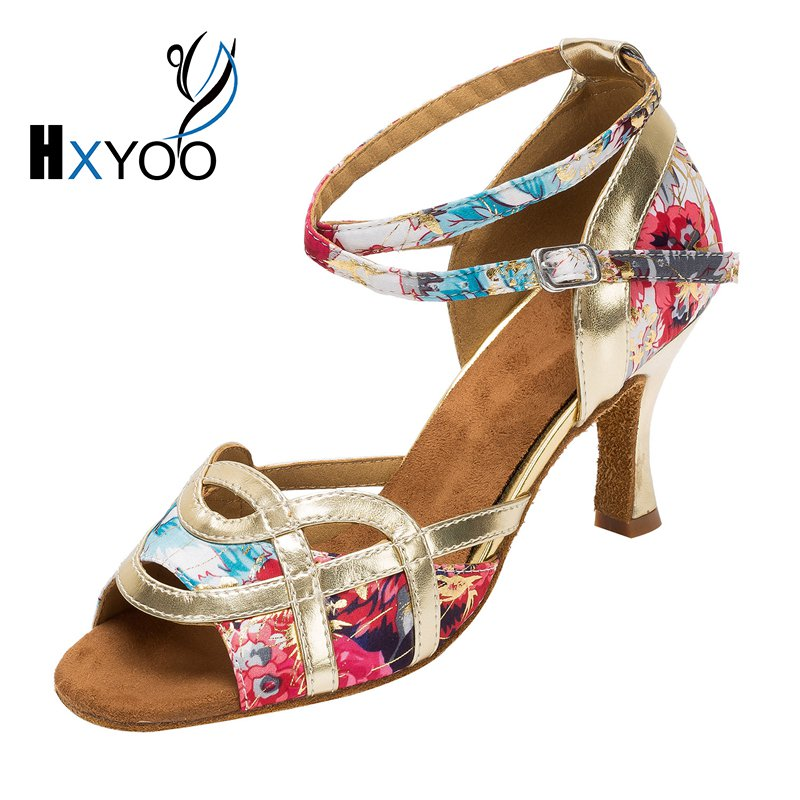 HXYOO 2017 New Brand Latin Dance font b Shoes b font Satin Soft Sole Flower with