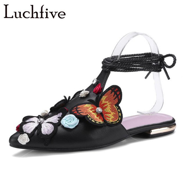 246cfcccfc9c Summer appliques flowers butterfly Slippers women flip flop flat heel  sandals mules rhinestone cross tied beach Shoes ladies