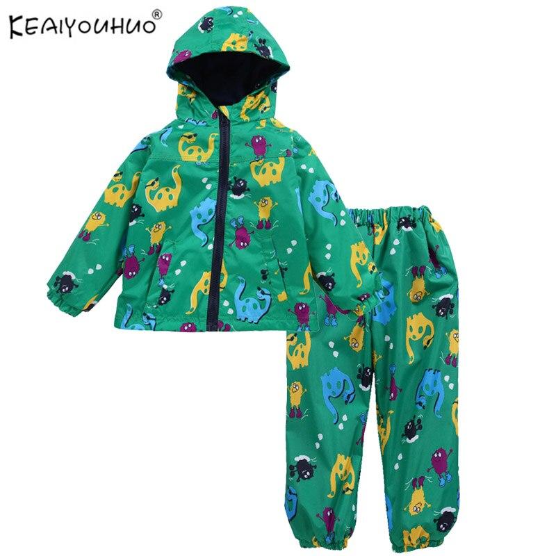KEAIYOUHUO 2018 новая одежда для маленьких мальчиков куртка с мультяшным рисунком + штаны детская одежда водонепроницаемый костюм с капюшоном для детей повседневные Костюмы|baby boy clothes|new baby boynew baby | АлиЭкспресс
