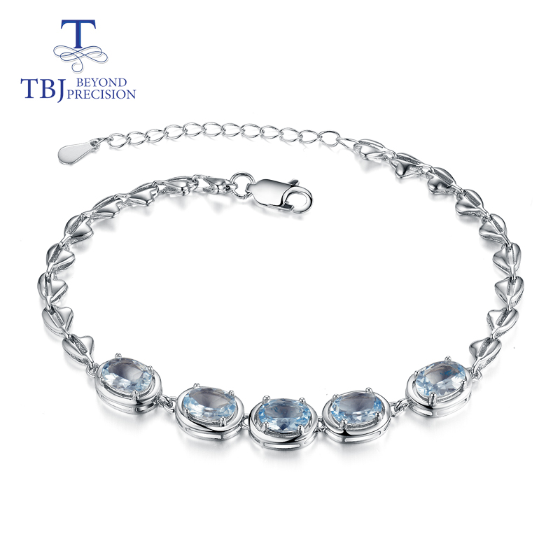 TBJ,new design bracelet natural aquamarine oval 5*7mm 925 sterling silver fashion jewelry for lady suitable for summer wearTBJ,new design bracelet natural aquamarine oval 5*7mm 925 sterling silver fashion jewelry for lady suitable for summer wear