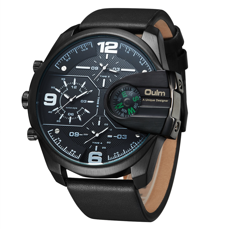 Oulm New Leather Sports Watch Male Big Size Quartz Wrist Watches Mens Designer Watches Luxury Military Watch reloj hombre oulm mens designer watches luxury watch male quartz watch 3 small dials leather strap wristwatch relogio masculino