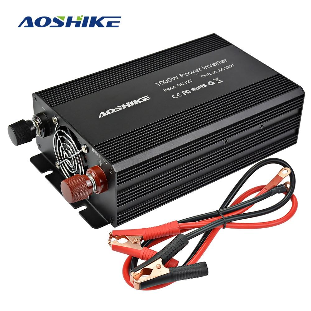 Aoshike Power Car Inverter 12V 220V 1000W Modified Sine Wave Auto Converter Adapter Voltage Transformer Dual USB European aoshike power car inverter 12v 220v 1000w modified sine wave auto converter adapter voltage transformer dual usb european