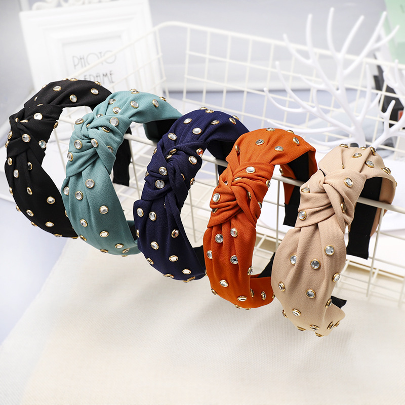 Fashion Knot Turban Hair Bands For Women Rhinestone Jewel Headband Ladies Jewelled Hairband Haarband Diademas Para El Pelo Mujer