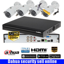 Dahua HCVR5104HS-S3 4ch CVI Security Camera System with 4pcs  2Megapixel 1080P Waterproof HDCVI IR bullet Camera DH-HAC-HFW1200S