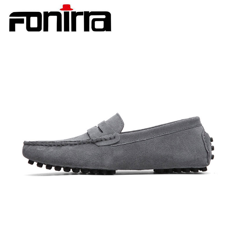 2017 Men Wome Loafers Couple Casual Shoes 14 Colors Men Flats Shoes Genuine Leather Chaussure Homme Moccasin Slip On Flats 053