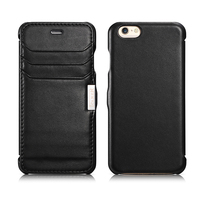 Icarer Black White Side Open Hand Make leather Clip Phone Case Cover For iPhone6 6s With 3 Card Solt Best Gift