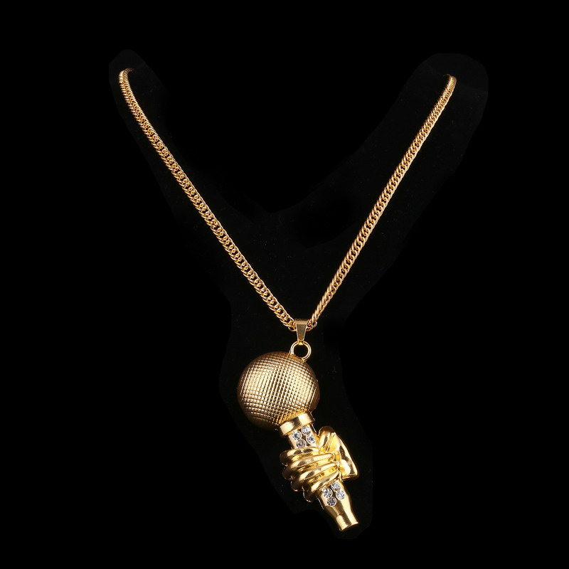 Rock Rapper DJ Night Club Long Chain Jewelry Microphone Necklaces & Pendants Gold Color Rhinestone Men Necklace Gift