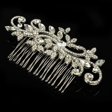 New Fashion flower leaves Crystal Bridal hair comb pearl headband Silver plated Women hair Jewelry Wedding hair accessory Gift