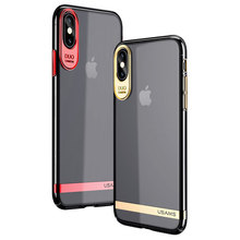 USAMS For iPhone X Case Bling Electroplating ARC Edge Hard PC Clear Back Case For Apple iPhone 10 Ultra-Slim Phone Cover