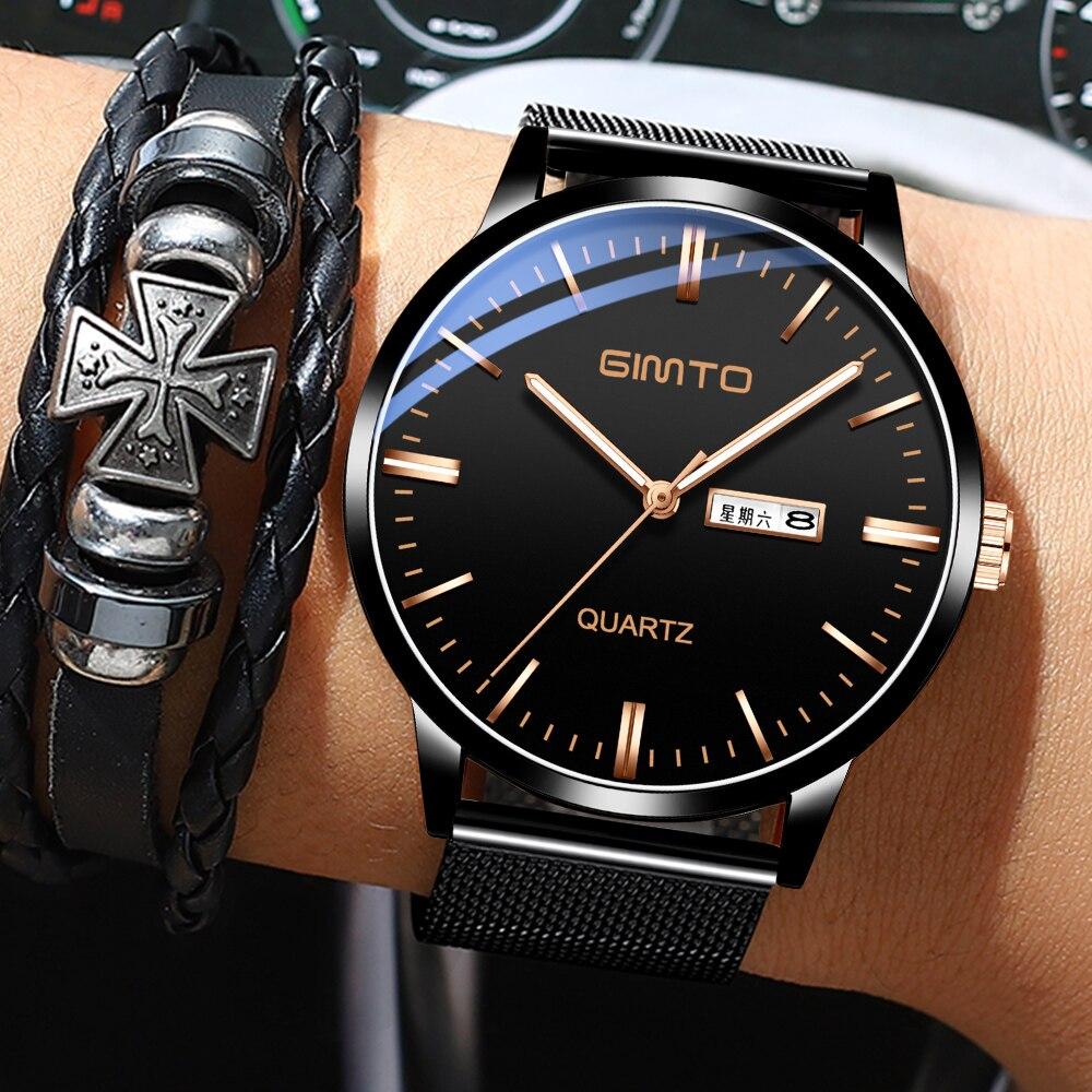 Reloj hombre de GIMTO Hommes Montres Top Marque De Luxe Ultra-mince Date Simple Casual Quartz hommes Montre-Bracelet Relogio masculino