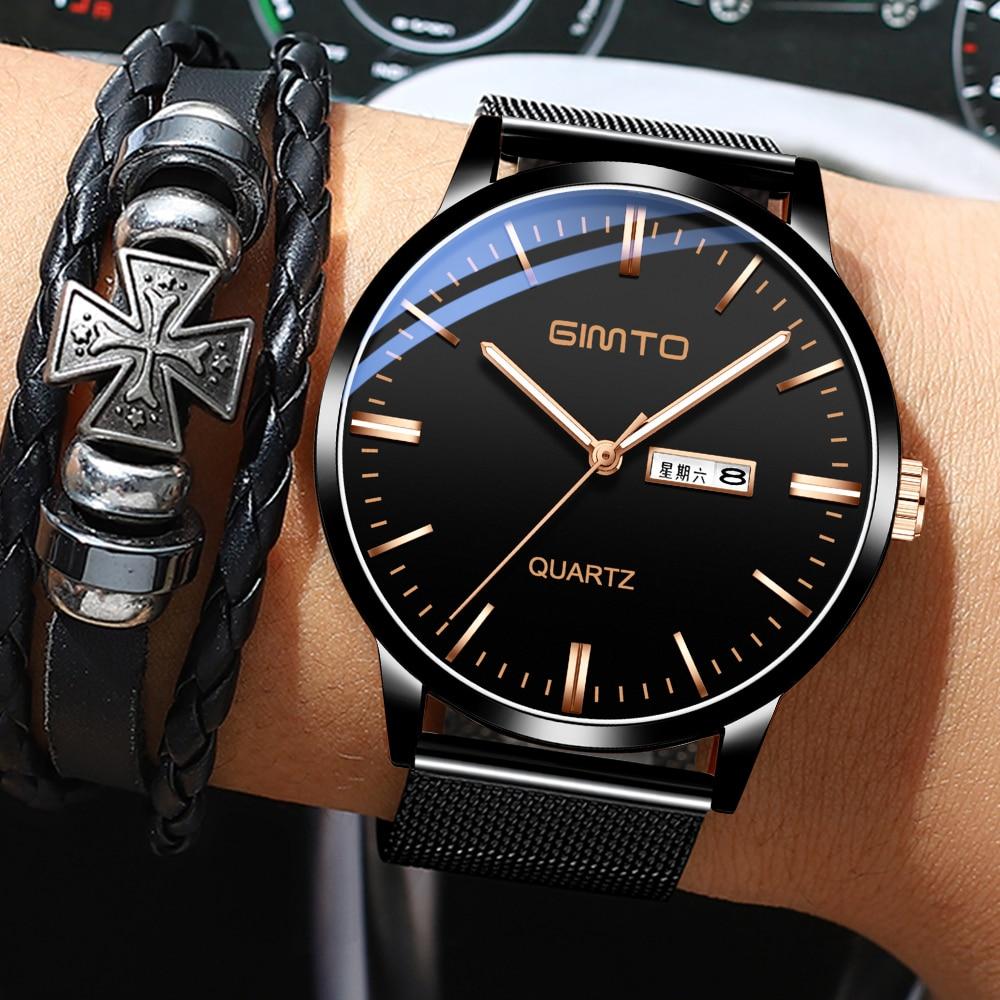 reloj hombre GIMTO Men's Watches Top Brand Luxury Ultra-thin Date Simple Casual Quartz male Wrist Watch Relogio Masculino