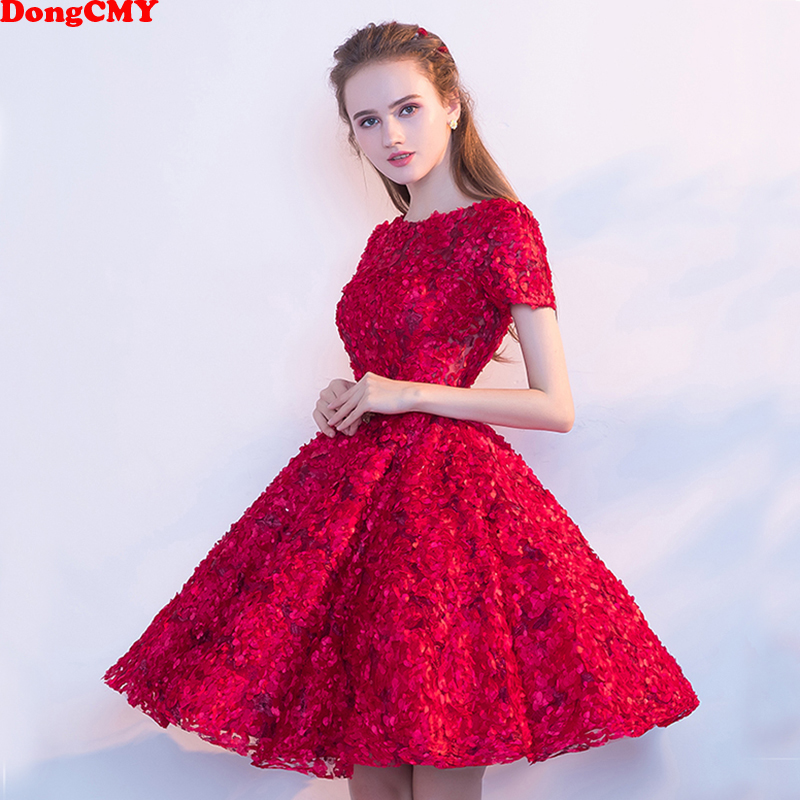 DongCMY 2018 New Arrival short Plus size  Red Slim Party Cocktail Dresses Vestidos