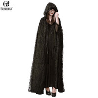 ROLECOS 2018 Steampunk Gothic Cloak Coat Women Vintage Long Trench Capes Black Lace Ponchos And Capes Hooded Cloak Halloween