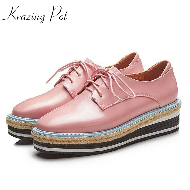 krazing pot cow leather high heels women brand shoes waterproof wedges round toe increased straw decoration platform shoes L88 genuine cow leather spring shoes wedges soft outsole womens casual platform shoes high heel round toe handmade shoes for women