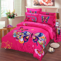 美しい赤い蝶3dクイーンサイズ寝具セット4ピース用女の子100%綿のベッドリネンフラットシート布団カバーセット枕