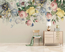 beibehang Custom size thick silky 3d wallpaper hand-painted vintage rose TV background papel de parede wall papers home decor beibehang custom silk cloth wall paper american hand painted rose flower rattan modern background papel de parede 3d wallpaper