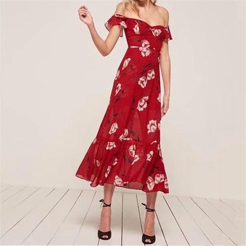 ZXQJ Women Red Big Flower Dress Slim Polyester Dresses Slash Neck Girl  Bodycon Off The Shoulder Party Beach Dress AO18010819 554f7d84d