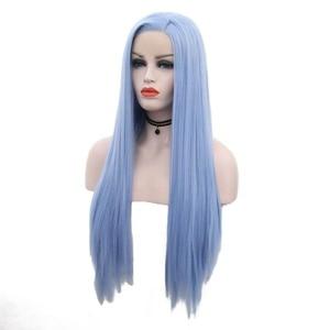 Image 4 - JOY&BEAUTY 12inch 28inch Silky Straight Synthetic Lace Front Wigs Sky Blue Long Heat Resistant Fiber Hair Free Part Wigs Women