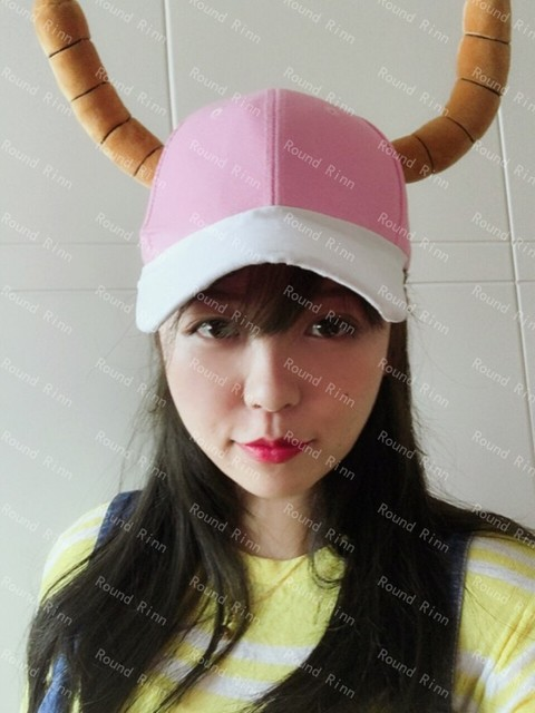 b47ddfb6e2c Miss Kobayashi s Dragon Maid Quetzalcoatl Lucoa Cosplay Cap Anime Pink    White Hat With Dragon Horns