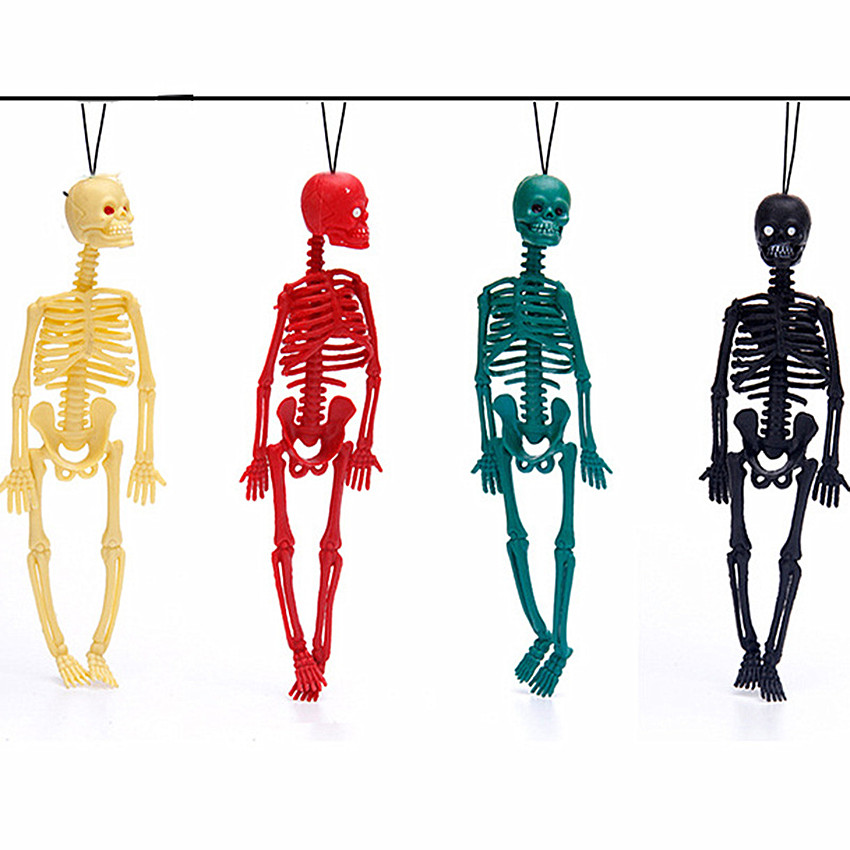 Funny Halloween Toy Length 20cm Realistic Human Skeleton Mold Scary Jokes Toy Key Buckle Action Figure Children's Toys Skeleton