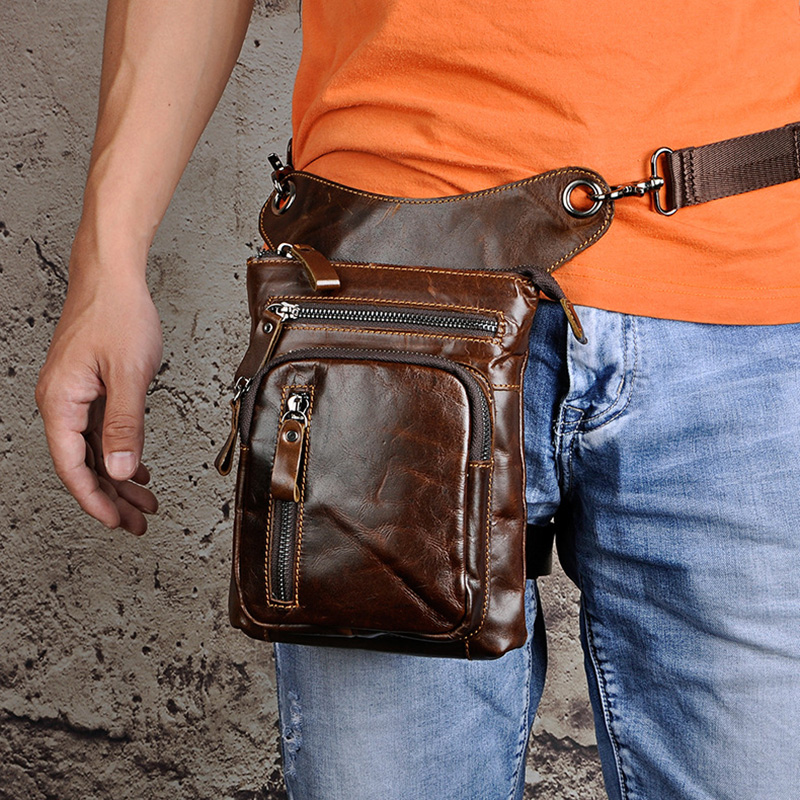 Men Genuine Real Leather Outdoor Phone Pouch Hook Hip Bun Fanny Waist Pack Bag