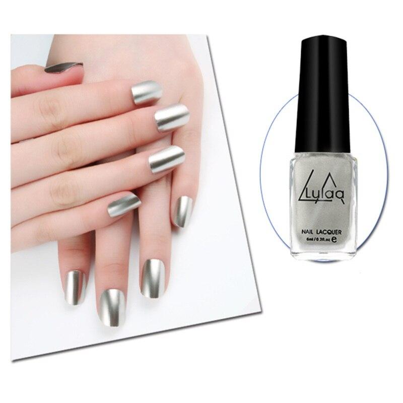 Цвет ful Зеркало Покрытие вставить металла Цвет Нержавеющаясталь Лаки для ногтей для Дизайн ногтей для ногтей 6 мл