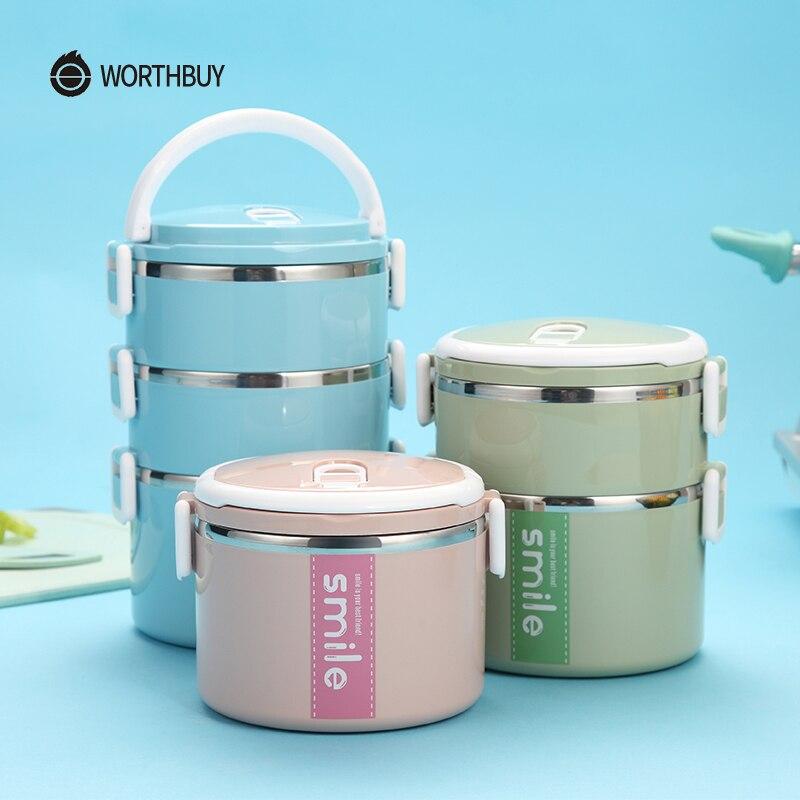 WORTHBUY Giapponese In Acciaio Inox Bento Lunch Intercalare Boxs Con Forno A Microonde Ad alta Capacità Contenitori Per Alimenti Per Bambini Picnic Set