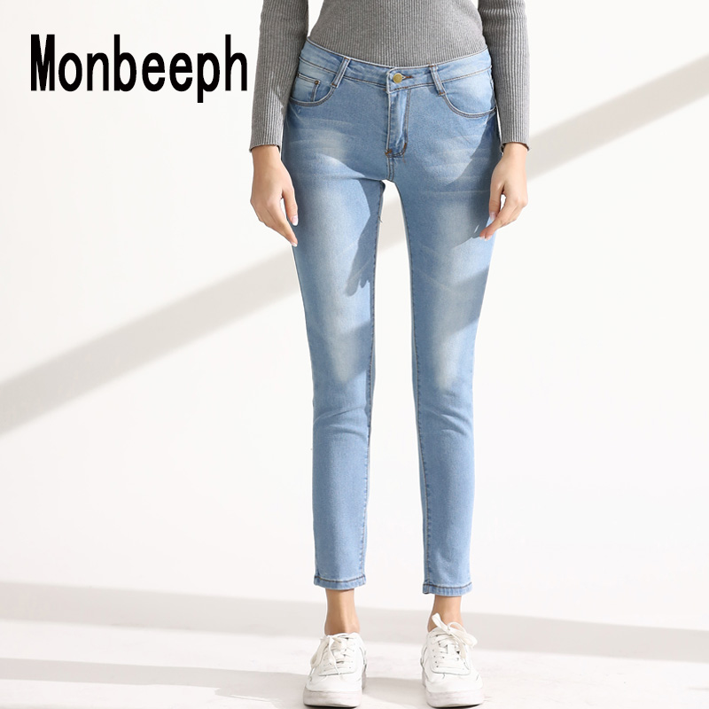Monbeeph Skinny Women Pants Trousers Pencil-Jeans Light Stretch High-Waist Ladies