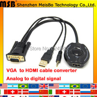 New 30cm VGA TO HDMI with audio 1080p PC to TV adapter Analog to Digital VGA output Converter For projector TV