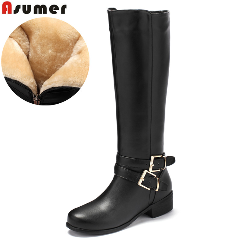 ASUMER Large size 34-46 women knee high boots buckle with zip Retro women's motorcycle boots thick fur warm winter snow boots 1