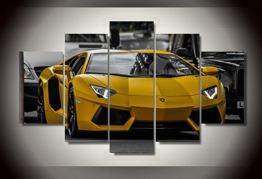 5pcs with framed printed yellow sport car picture painting wall art childrens room decor print picture