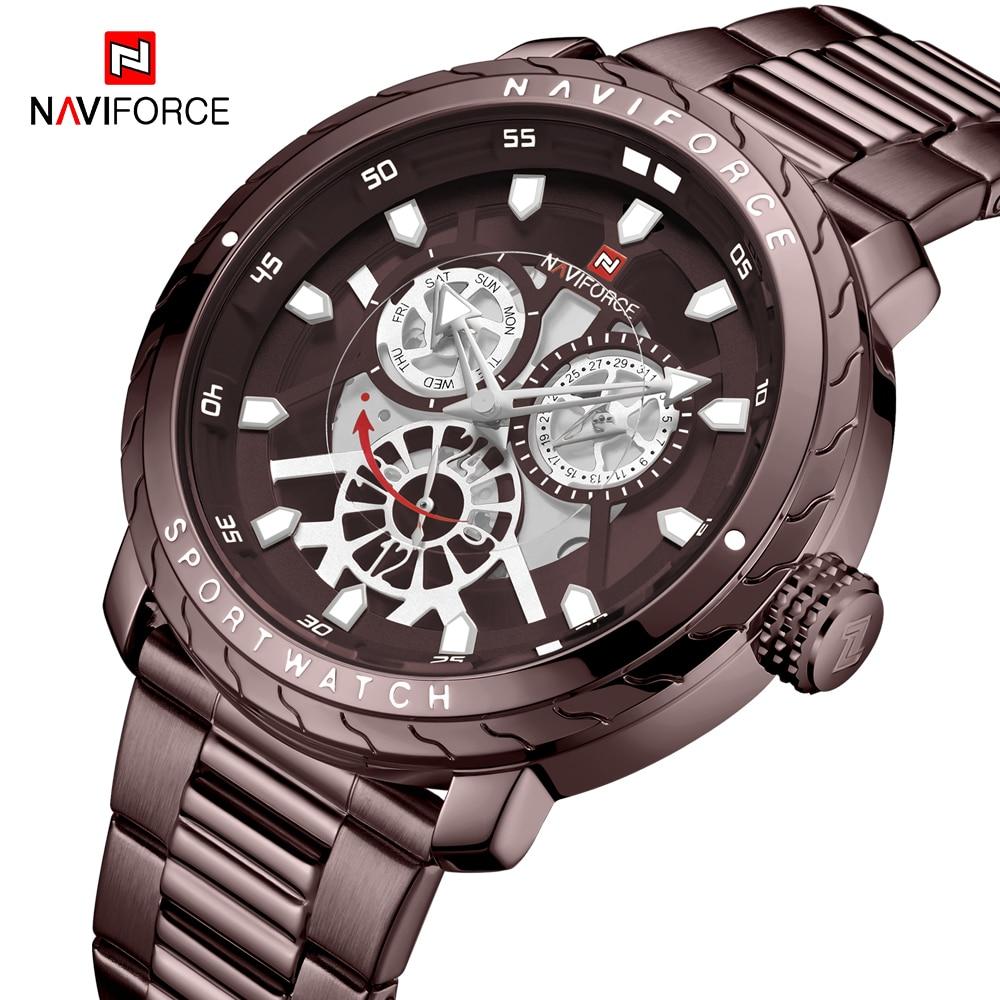 NAVIFORCE Watch Steel Strap Men Waterproof Sport Quartz Watches Top Brand Luxury Mens Military Date Wristwatch Relogio Masculino