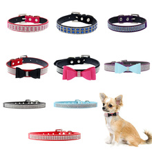pawstrip Bling Rhinestone Dog Collar Leather Cat Cute Bow Pet For Small Dogs Cats Soft Suede Puppy