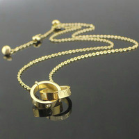 Hot Sell Brand 316l Stainless Steel Double Cirle Necklace For Women Men Lovers Jewelry Love Necklace