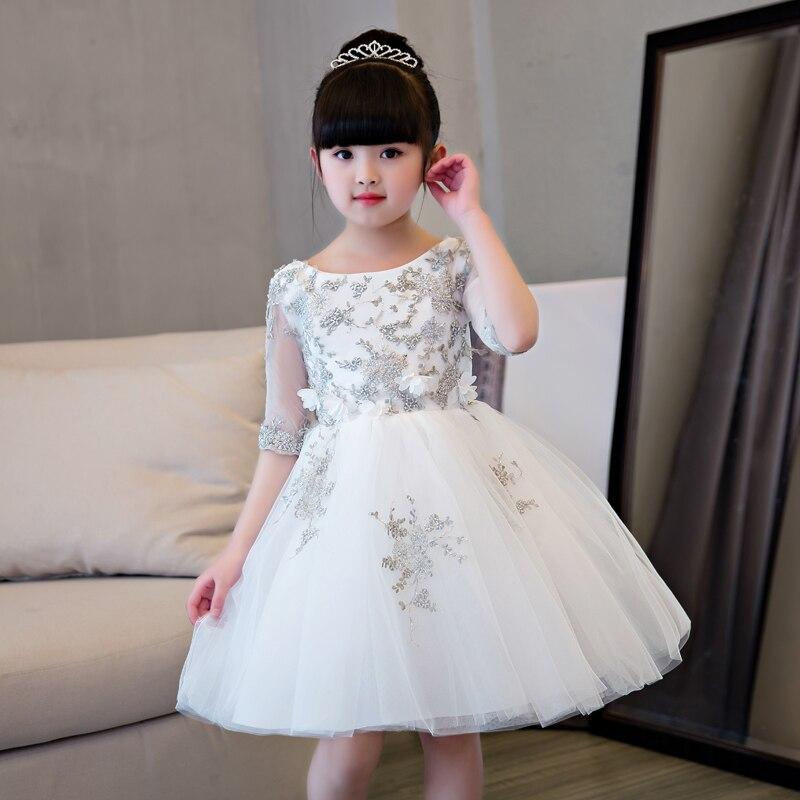 2017Luxury Children Girls Lace Princess Girl Communion Dress Bridesmaid Wedding Elegant Evening Party Pageant Pleated Dresses