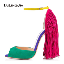 Peep Toe Ankle Strap Extreme High Heels Fringe Women Heeled Sandals Stiletto Heel Tassel Pumps Ladies Summer Sexy Party Shoes women sandals elastic band heel covering stiletto heels shoes women peep toe fringe sandals party shoes 2019 new design