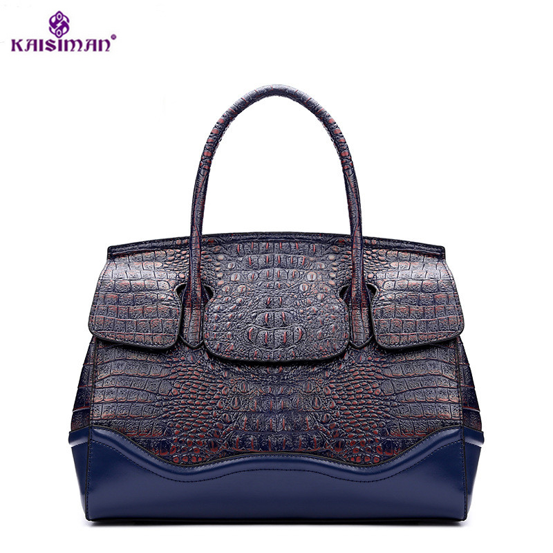 New Authentic Women Crocodile Bag Genuine Cow Leather Women Handbag Hot Selling Tote Women Bag Large Brand Bag Luxury 33*25*16cm yuanyu new 2017 new hot free shipping crocodile women handbag single shoulder bag thailand crocodile leather bag shell package